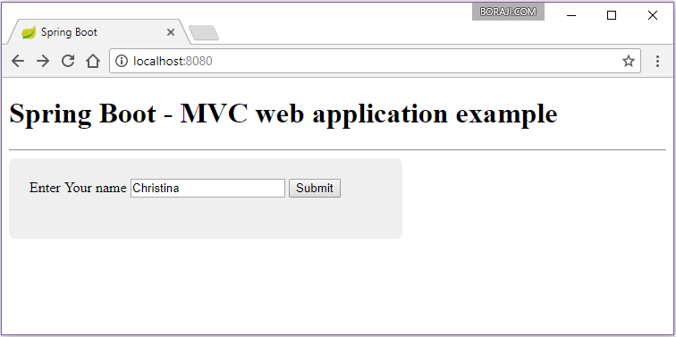 Spring Boot - Creating web application using Spring MVC